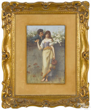 Painted porcelain plaque of two young lovers late 19th c