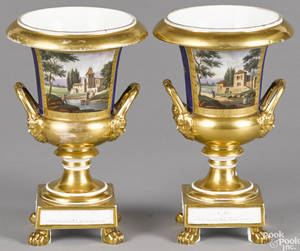 Pair of Paris porcelain urns 19th c