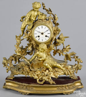 French gilt bronze figural mantel clock late 19th c