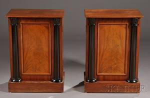 Pair of English Mahogany and Partebonized Side Cabinets