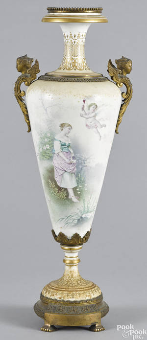 French ormolu mounted porcelain urn late 19th c
