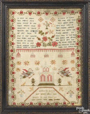English silk on linen needlework dated
