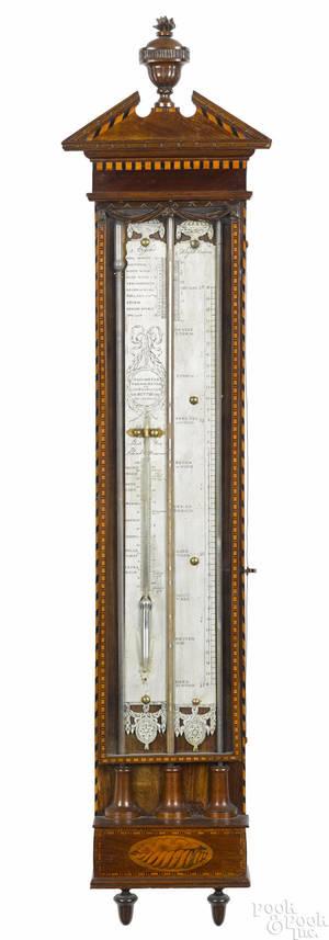 Dutch inlaid mahogany barometer ca 1800
