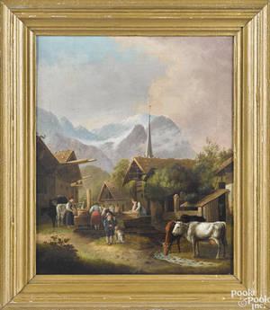 German oil on canvas village scene 19th c