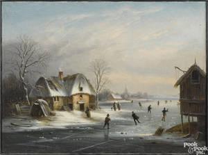 Dutch oil on canvas winter skating scene