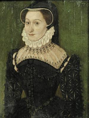Continental School 19th Century Portrait of a Woman in an Elaborate Black Dress in the 16th Century Style