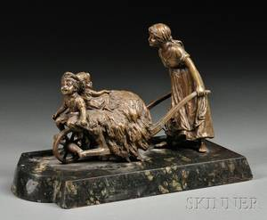 Carl Kauba Austrian 18651922 Bronze of Children Playing in a Wheelbarrow