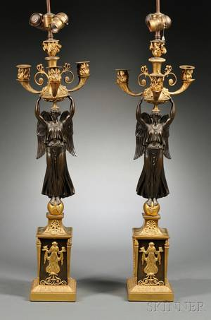 Pair of Empirestyle Ormolu and Bronze Figural Candelabra