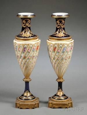 Pair of Sevres Porcelain Ormolumounted Urns