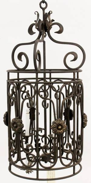 Cylindrical Iron 4 Light ChandelierLantern