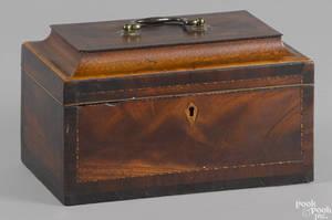 George III inlaid mahogany tea caddy late 18th c