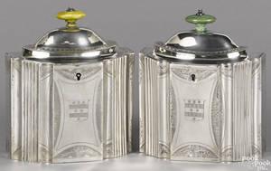 Pair of English bright cut silver tea caddies 17961797
