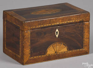 Hepplewhite mahogany tea caddy ca 1800