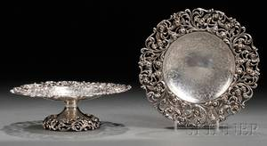 Two Sterling Silver Tazza with Reticulated Borders and Feet