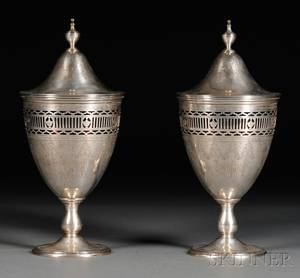 Pair of Tiffany  Co Sterling Silver Covered Jars