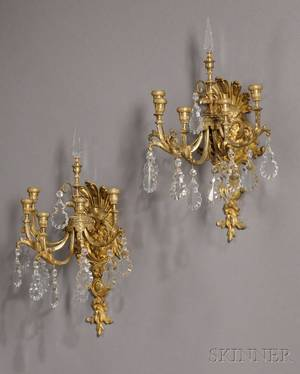 Pair of French Giltbronze Wall Sconces