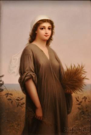 KPM Porcelain Plaque of Ruth Harvesting Grain