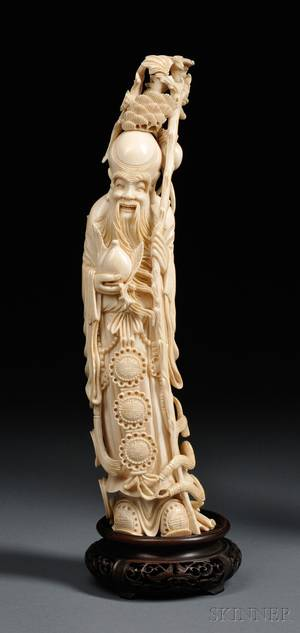 Ivory Carving on Wood Stand