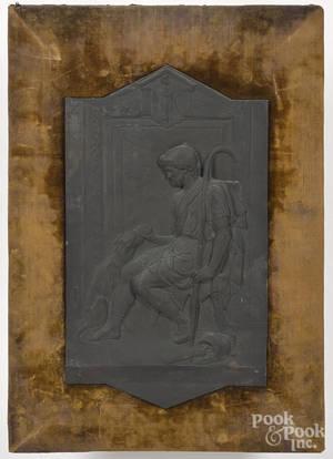 Continental bronze plaque of a Roman gentleman