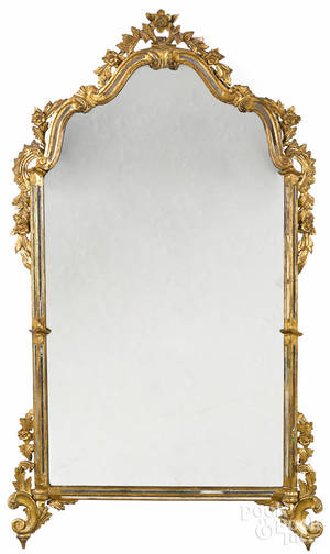 French or Italian giltwood mirror