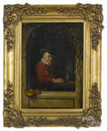 Continental oil on panel of a seated gentleman with a violin