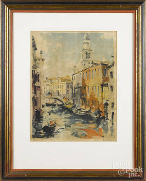 Pair of color engraved Venetian scenes