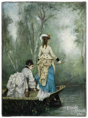 French oil on canvas of two women in a boat