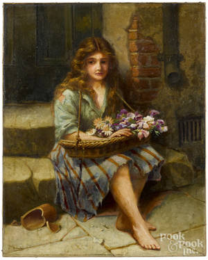 Oil on canvas peasant girl with flowers