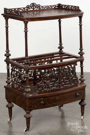 Marquetry inlaid burl veneer music stand