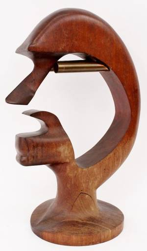 Modernist Carved Wood Face Sculpture