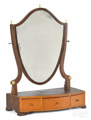 Tiger maple and mahogany Federal shaving mirror