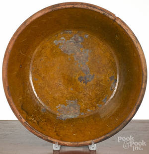Large Pennsylvania redware shallow bowl