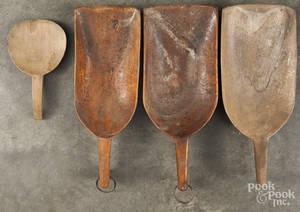 Three wooden scoops