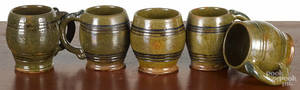 Five I S Stahl redware mugs