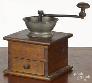 Walnut and pewter coffee grinder