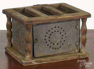 Punched tin and pine foot warmer