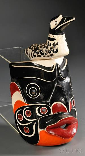Contemporary Northwest Coast Polychrome Wood Kwakiutl Komokwa Mask