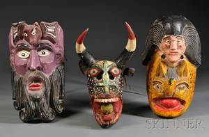Three Carved Wood Mexican Masks
