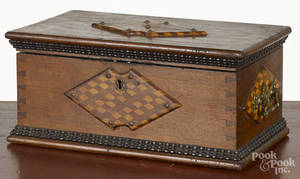 Parquetry inlaid walnut dresser box
