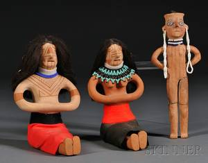 Three Mojave Painted Pottery Figures