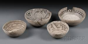 Four Anasazi Bowls