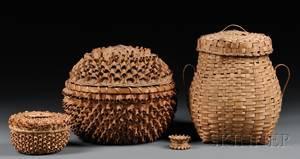 Four Lidded Northeast Splint Baskets