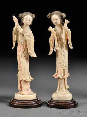 Pair of Polychrome Ivory Carvings