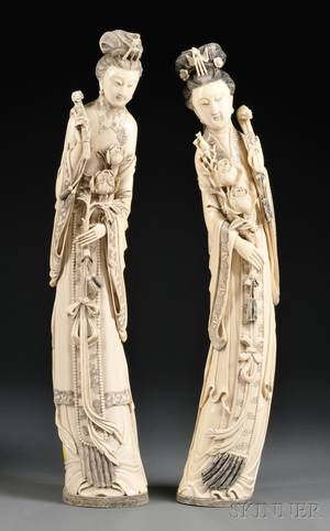 Pair of Tall Ivory Carvings