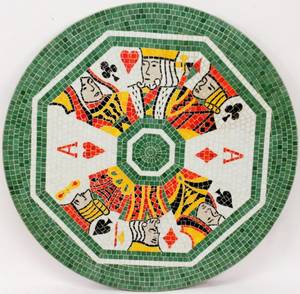 Mosaic Playing Card Motif Round Table Top