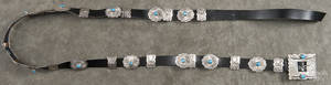 Native American silver and turquoise concha belt