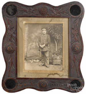 Tramp art carved frame