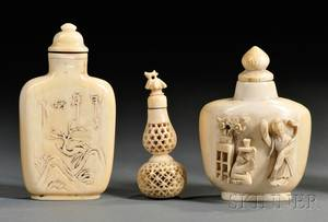 Three Ivory Snuff Bottles