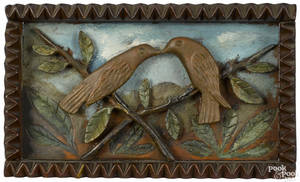 Folk art carved and painted plaque of two love birds late 19th c
