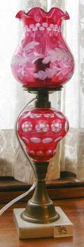 Ruby cut to clear table lamp